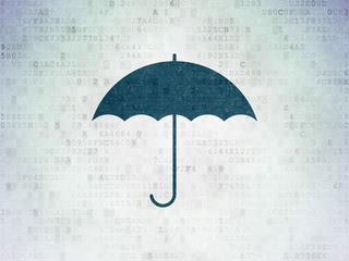 Security concept: Umbrella on Digital Paper background
