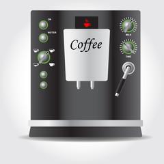 Coffee machine black colour. Domestic electric appliance. Vector image.