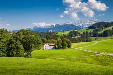Fototapete - Idyllic landscape in the Alps, Appenzellerland, Switzerland