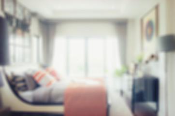 defocus blur abstract background of modern bedroom interior