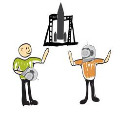 A man on a rocket