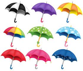 Obraz Set of nine different coloured umbrellas - fototapety do salonu