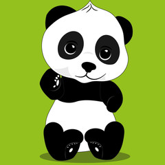 image of a little panda sitting on a green background