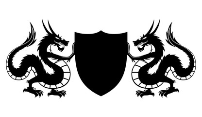 Dragons and shield with space for text.