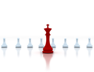 Leadership concept. Chess king in front