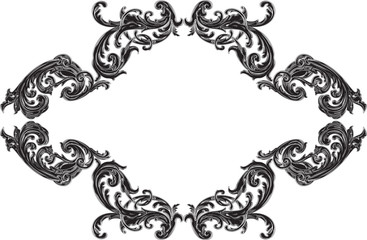 Baroque black frame with acanthus