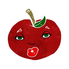 cartoon apple with face