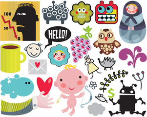 Mix of different vector images. vol.38