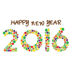 creative fruit happy new year 2016 greeting or graphics design