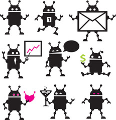 Cute robot icons black and white.