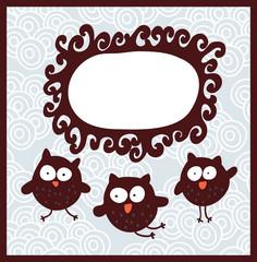 Cartoon banner and cute owls.