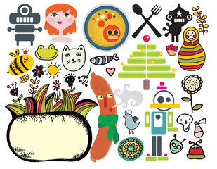 Mix of different vector images.