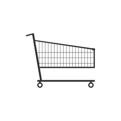 Shopping trolley flat illustration