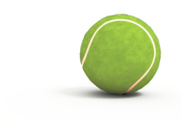 An isolated tennis ball in the white background.