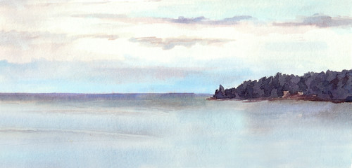 Water view landscape - lake or sea, island, sky. Watercolor.