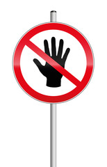No entry sign with a hand crossed out. Isolated vector illustration on white background.