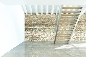 Scala moderna con muro in mattoni dietro
