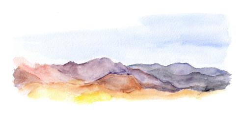 Mountains landscape view. Watercolour picture