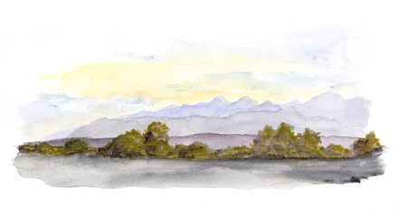 Mountains panorama scenic view. Watercolor drawing