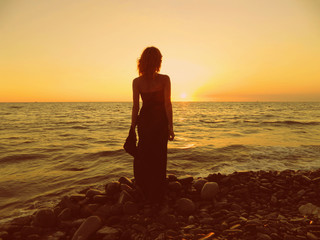 The girl at sunset