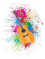 Acoustic Guitar with Paint Splatter Vector Illustration
