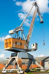 Old Dockside Crane with Blue Sky