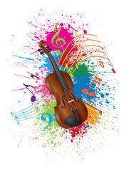 Violin with Bow Paint Splatter Vector Illustration