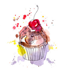 Cupcake cake with chocolate and cherry. Watercolor