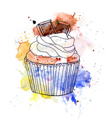 Cupcake cake with chocolate. Watercolor