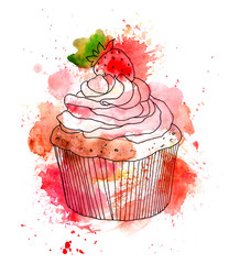 Cupcake cake with cream and strawberry berry. Watercolor