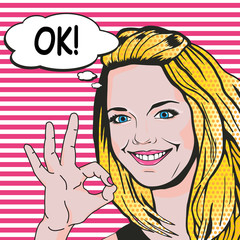 Woman says OK pop art comics style. Vector retro young woman shows ok gesture