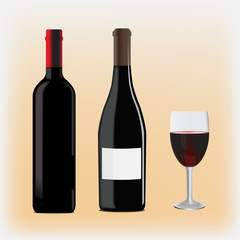 an image of two bottles of different shapes and glass filled with wine