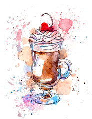 Coffee with cream and cherry. Watercolor
