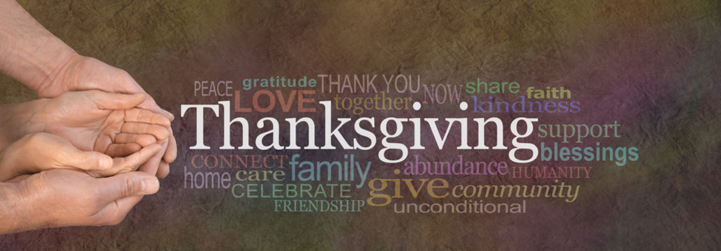 Thanksgiving Word Cloud Website Banner - Female cupped hands cradled by male hands outstretched with a white 'Thanksgiving' word floating above and relevant word cloud on a stone effect background