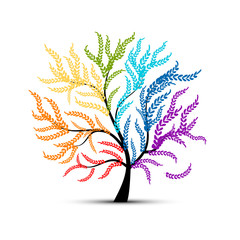 Art tree colorful for your design