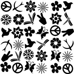 symbols of peace on a white background