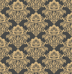 Vector damask seamless pattern background.
