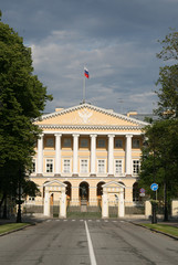 ST. PETERSBURG, RUSSIA - JUNE 27, 2008: Facade of Smolny institute, now is the residence of the Governor of St. Petersburg