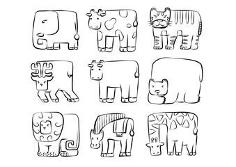 animals set . cute rounded rectangle wild animal symbol