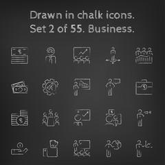 Business icon set drawn in chalk.