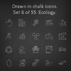 Ecology icon set drawn in chalk.
