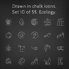 Ecology icon set drawn in chalk.