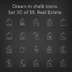 Real estate icon set drawn in chalk.