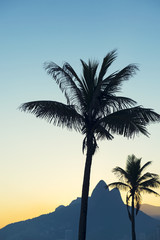 Sunset in Rio de Janeiro Ipanema Beach Brazil with Two Brothers Dois Irmaos Mountain and palm tree silhouette