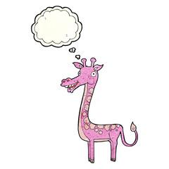 cartoon giraffe with thought bubble