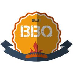flat design bbq, grill;  restaurant; sausage; retro vintage badges, ribbons and labels hipster signboard