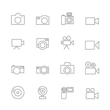 camera icons set