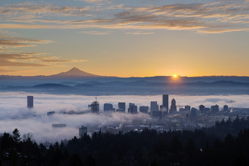 Sunrise over Foggy Portland Cityscape with Mt Hood