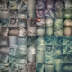 Collage set of jeans background