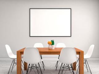 mock up poster frame, interior background, 3D illustration